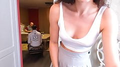 Elana strips with dad and his friend in the next room