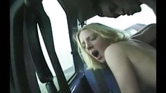 British slut takes BBC in the car as horny old dogger wanks