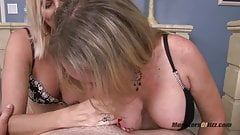 Two Big Tit Milfs Suck Cock POV