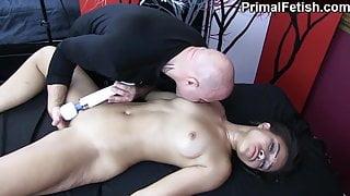 Black Babe Made to Cum Again and Again by White Masseur