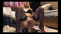 Tattoo Sissy girl cum fucked big cock blonde shemale femboy