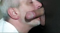 Daddy sucking cock at glory hole
