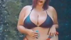 bikini photoshoot under water fall