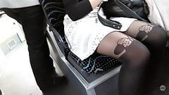 Candid vouyeur sexy girl pantyhose legs