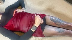 Trans girl pissing and cumming over expensive satin dress