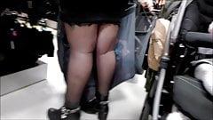 Beauty Babe Black Pantyhose Nylon & Boots - Candid