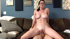 August rides a guy on the couch