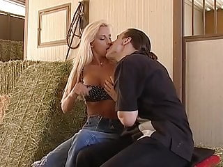 Fucking the farmers daghter Gorgeous blonde gets fucked in the barn by the farmer boy