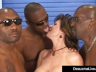 3 cocks in ass Busty mature cougar deauxma fucked in ass by 3 black cocks