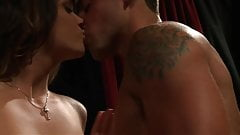 Cute faced babe Alison Tyler licking dude's fingers to seduce him