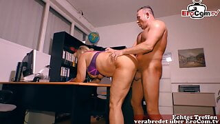 German mature blonde secretary with saggy tits fucked in the office