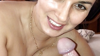 Deep and hard blowjob from wife.