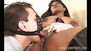 Ebony Femdom has her personal sex slave