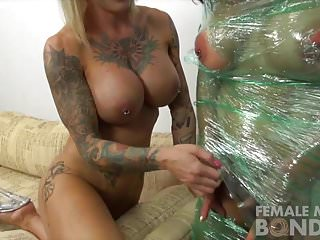 Lesbian saran wrap Brandimaes been wrapped up in plastic by duchess dani