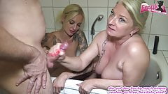 Mother and Daughter give threesome blowjob with cum swallow