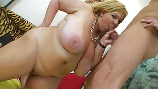 Cock hungry milf with monster tits sucks to last drop of cum