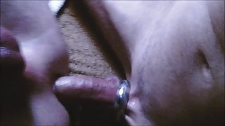 Juicy threesome with ass insemination and fisting