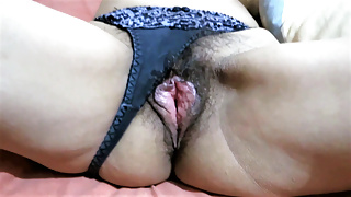 My wife is excited to show off her hairy pussy and jerk off