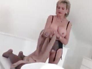 Wife milks black cock British milf milks a black cock