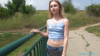 Public Agent Horny blondes tight body fucked for cash in for