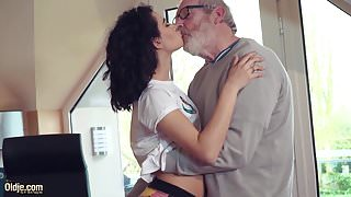 Cute Teen Fucked by Big Cock, Grandpa Cums in her mouth