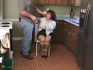 Non-consentual sex stories bondage blindfold Elane bound in the kitchen big blindfold.