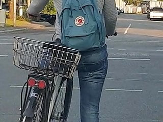 Numb penis while riding bike Candid ass in jeans - young girl riding bike