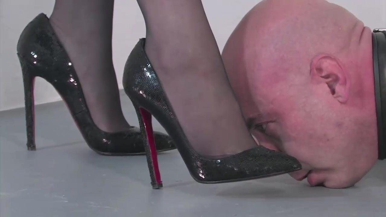 Louboutin heel worship slave