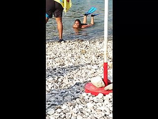 Young teen on beach Young and tight turkish brunette teen on the beach