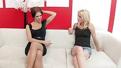 Hot blonde and brunette lesbians show opposites attract in fuck fest