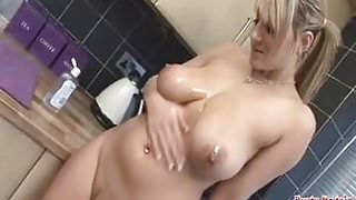 Big blonde Tits with oil