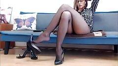 Sexy girl dangling her shoe