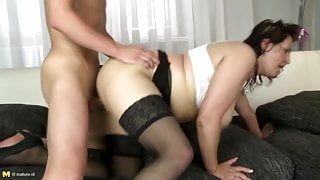 Busty mature mother suck and fuck her stepson's best friend cock