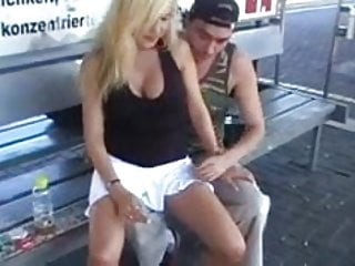 Peeing in public places - Crazy german fucks a girl in public places