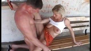 German Couple fucks on public bench
