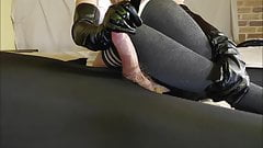 Femdom Mistress In Leather Gloves Teases, Edges & Denies Him