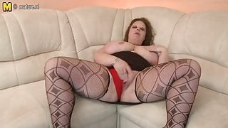 BIG Mature STEPMOM with HUGE tits and big toy