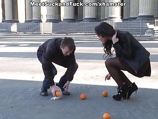 Hot orange sex videos Hot stranger porn sex started with the oranges