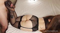 Teen stepsister in lingerie and stockings footjob - cum feet