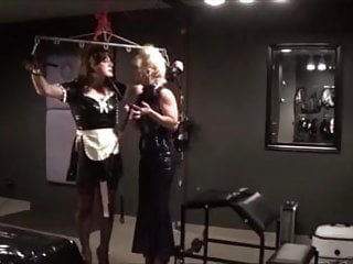 Bdsm cock slap Angelica suspended and cock slapped by madame c
