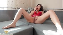 Girl in Sexy Red Lingerie Fingering after Waking Up