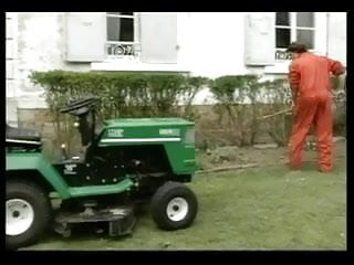Country tractor porn Tiny black teen gets her ass fucked on garden tractor