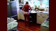 In my kitchen in thong