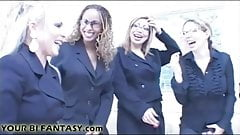 Strapon gangbanged by the office secretaries