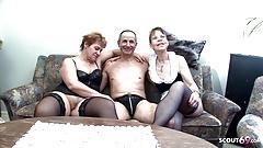 Two German Grandmas at Real FFM Threesome Porn Casting Sex