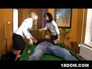 Sexy referee shoes Two 18yo girls control referees cock and dominate him