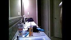 AirBnB voyeur girl before bath