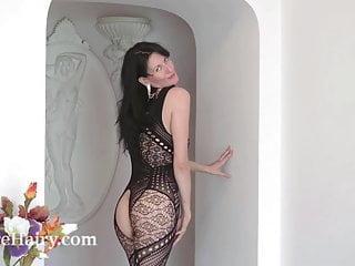 Black free jack online play strip Nimfa mannay strips off her black stocking to play