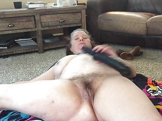 12 inch rabbit dildo Bbw mom with hairy pussy naked stretching 12 inch bbc dildo