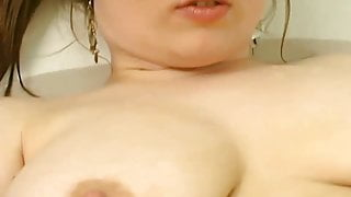 beautiful redhead washes her hairy pussy,pits,nice tits,